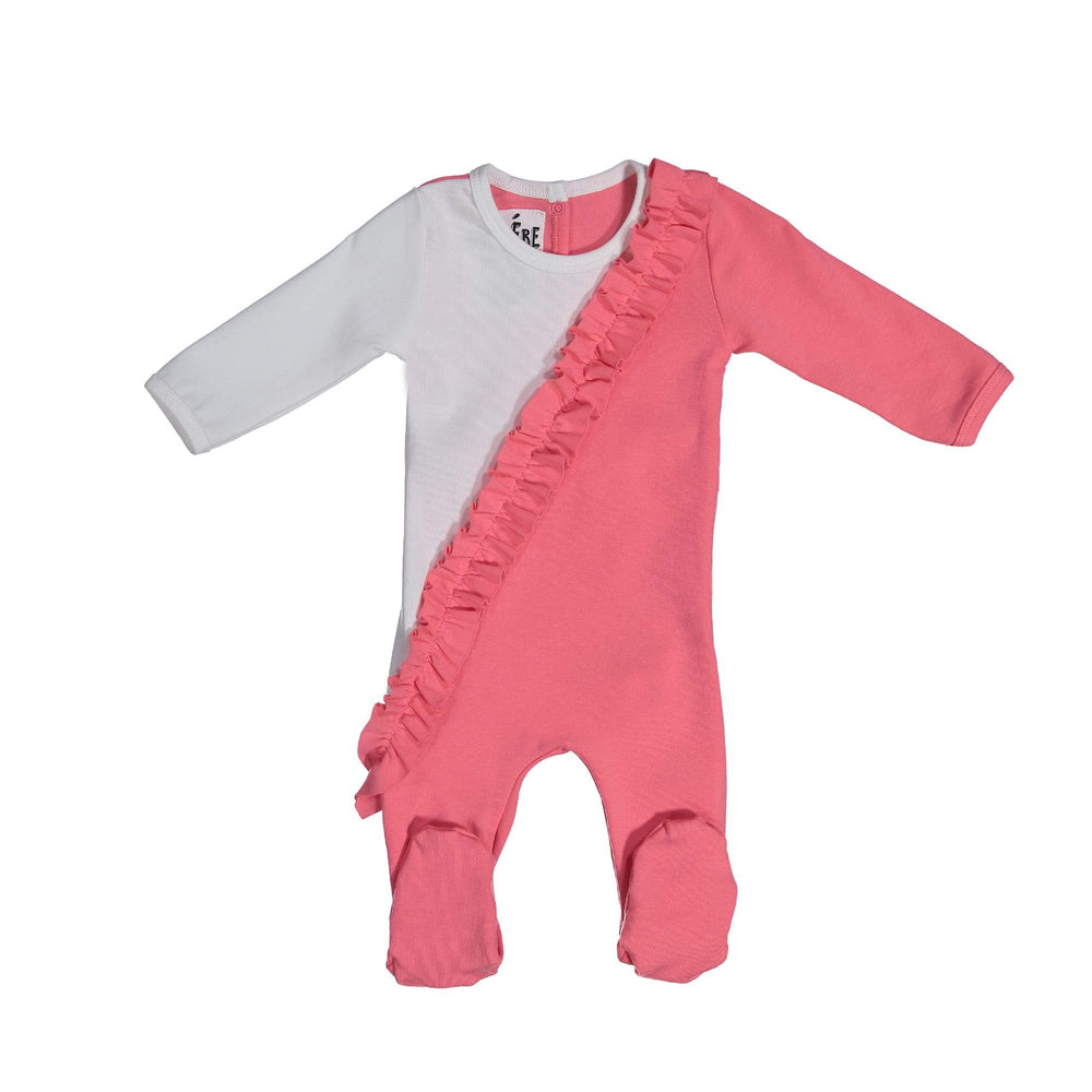 Diagonal Ruffle Footie Maniere Accessories Coral 3 Month