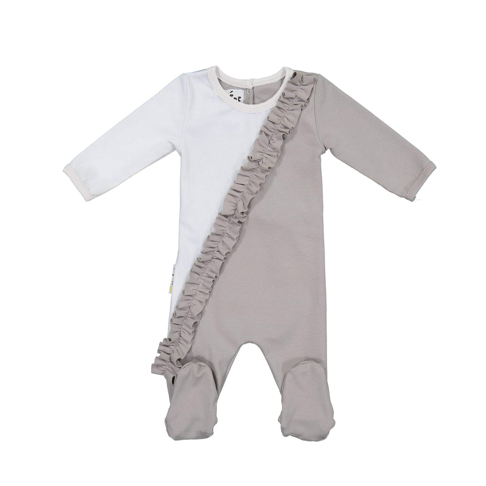Load image into Gallery viewer, Diagonal Ruffle Footie Maniere Accessories Grey 3 Month