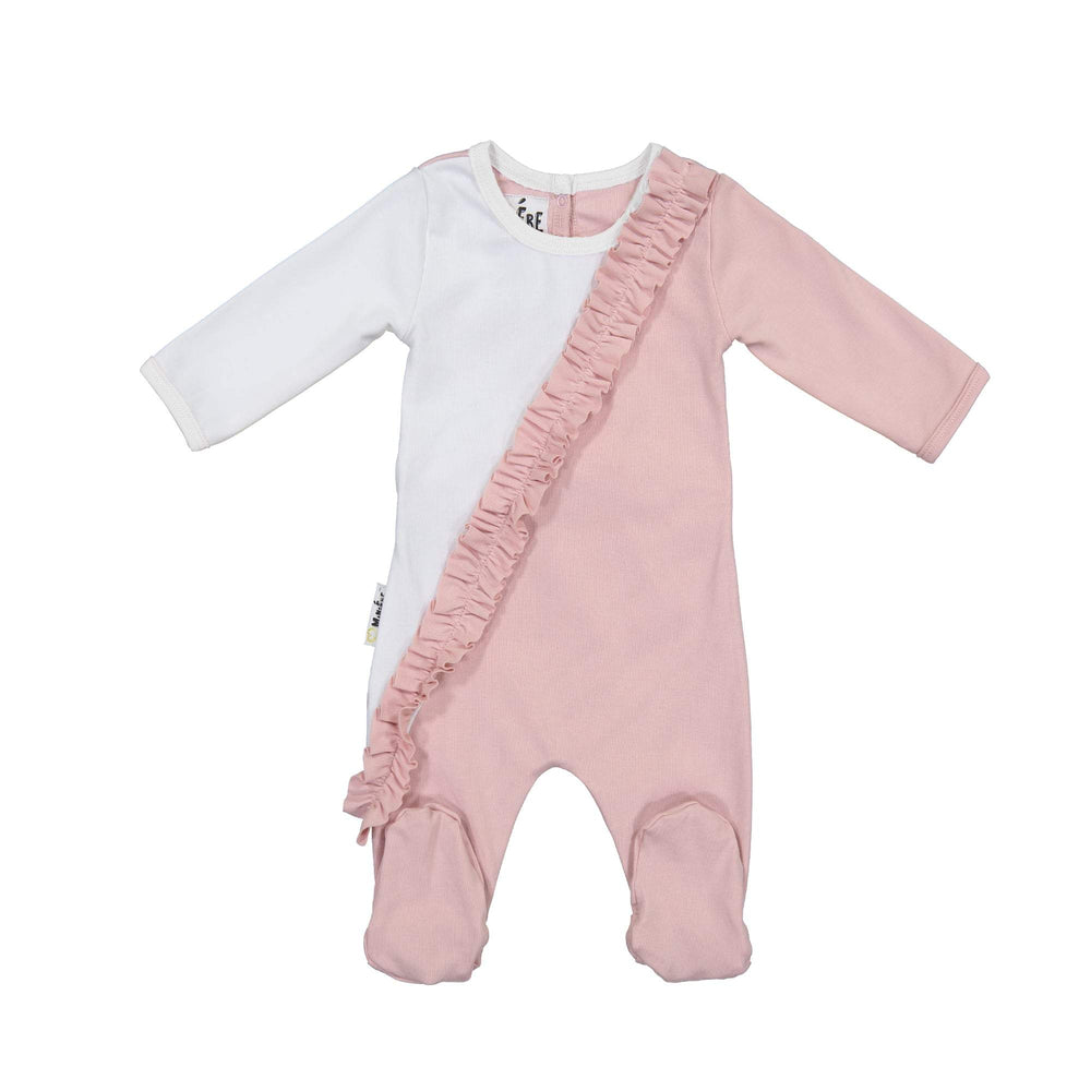 Load image into Gallery viewer, Diagonal Ruffle Footie Maniere Accessories Mauve 3 Month
