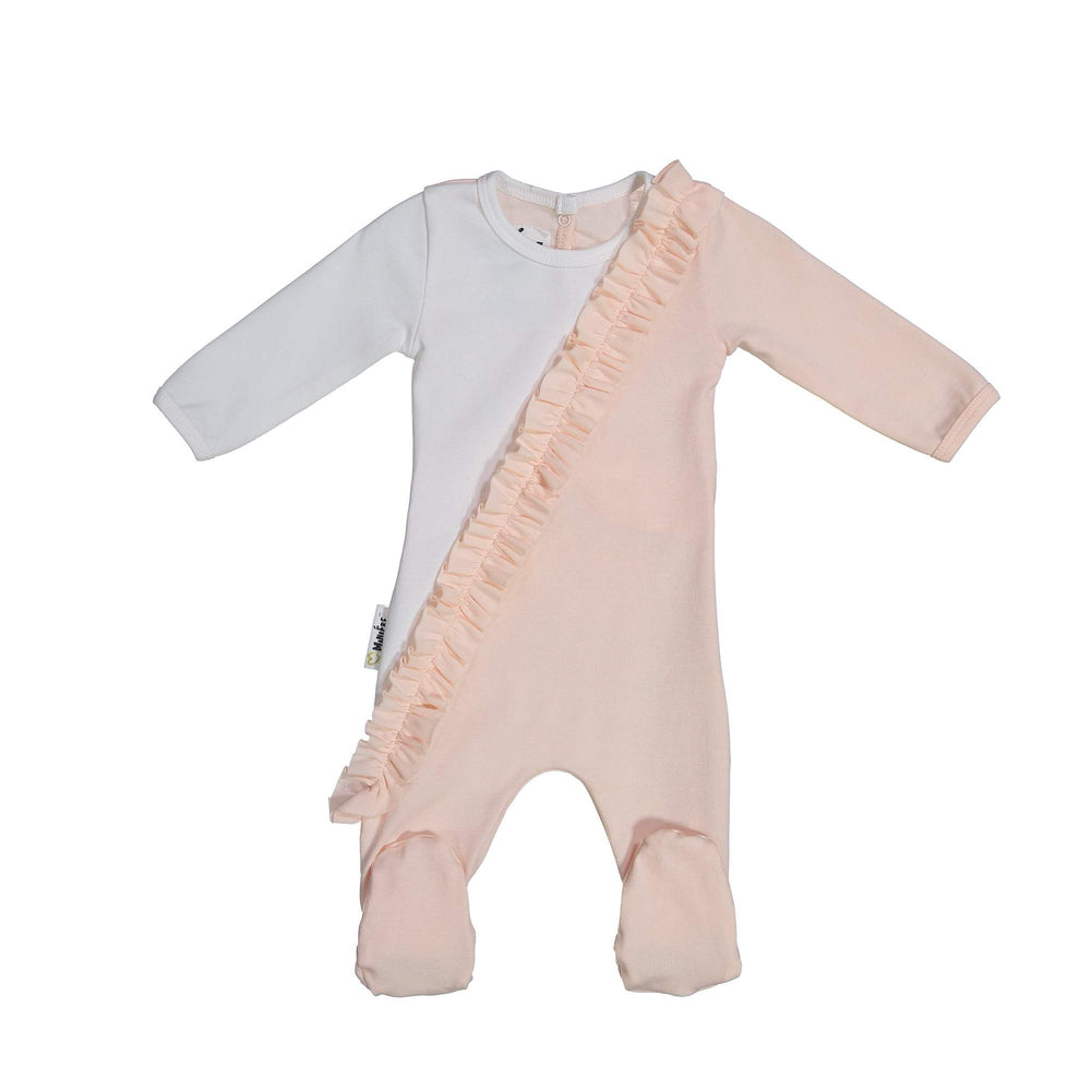Diagonal Ruffle Footie Maniere Accessories Peach 6 Month