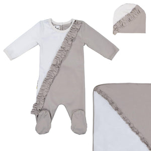 Diagonal Ruffle Footie Set Maniere Accessories Grey 3 Month