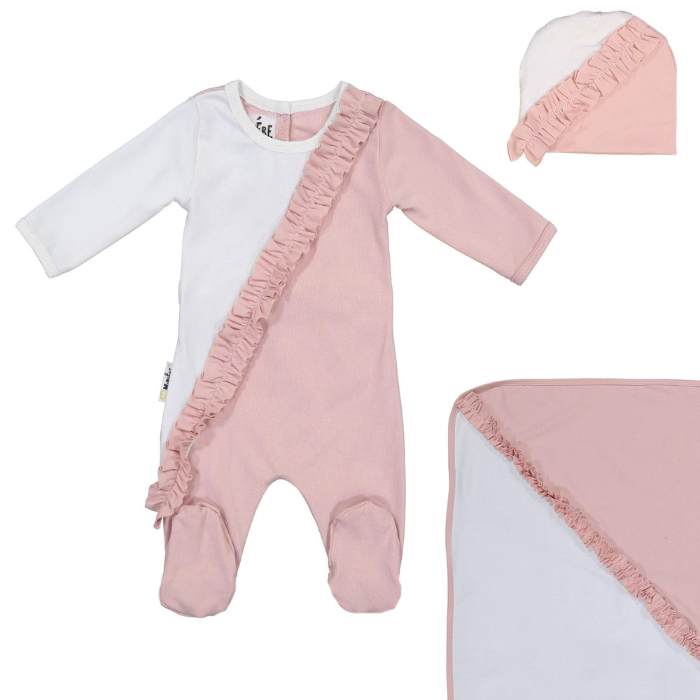 Diagonal Ruffle Footie Set Maniere Accessories Mauve 3 Month