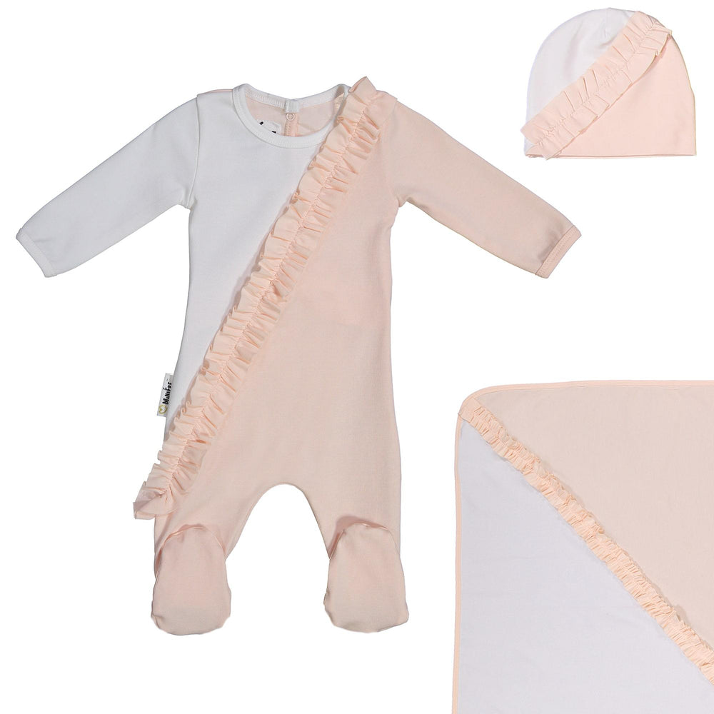 Diagonal Ruffle Footie Set Maniere Accessories Peach 3 Month