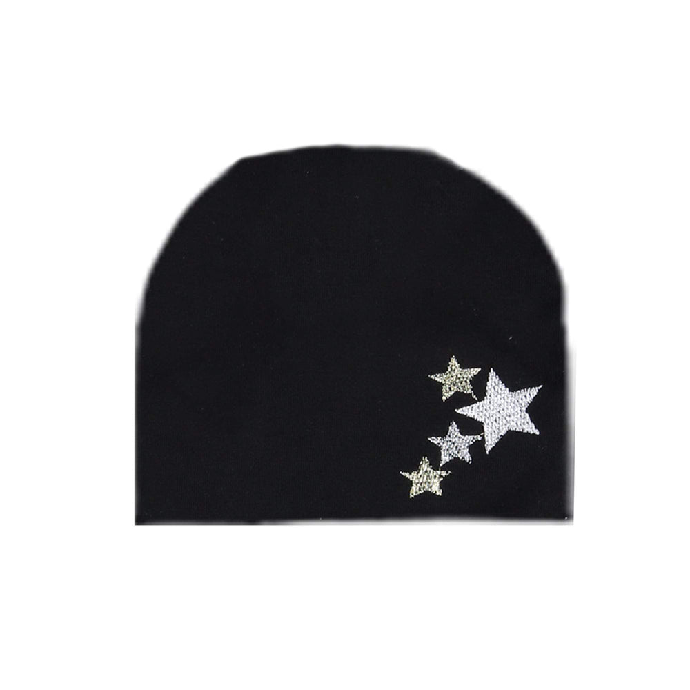 Embroidered Star Beanie (no pom) Maniere Accessories Black XS
