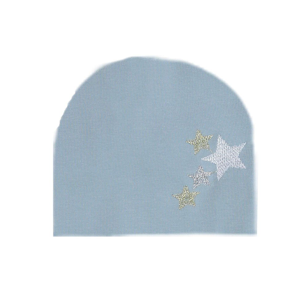 Embroidered Star Beanie (no pom) Maniere Accessories Denim Blue XS