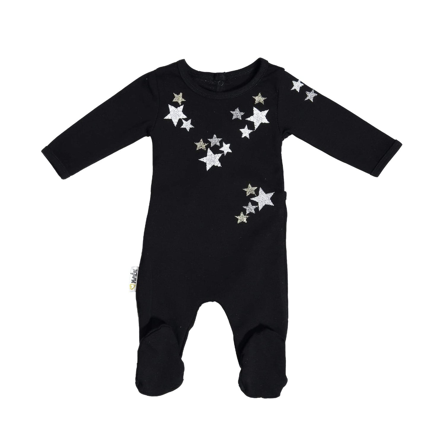Embroidered Star Footie Maniere Accessories Black 3 Month