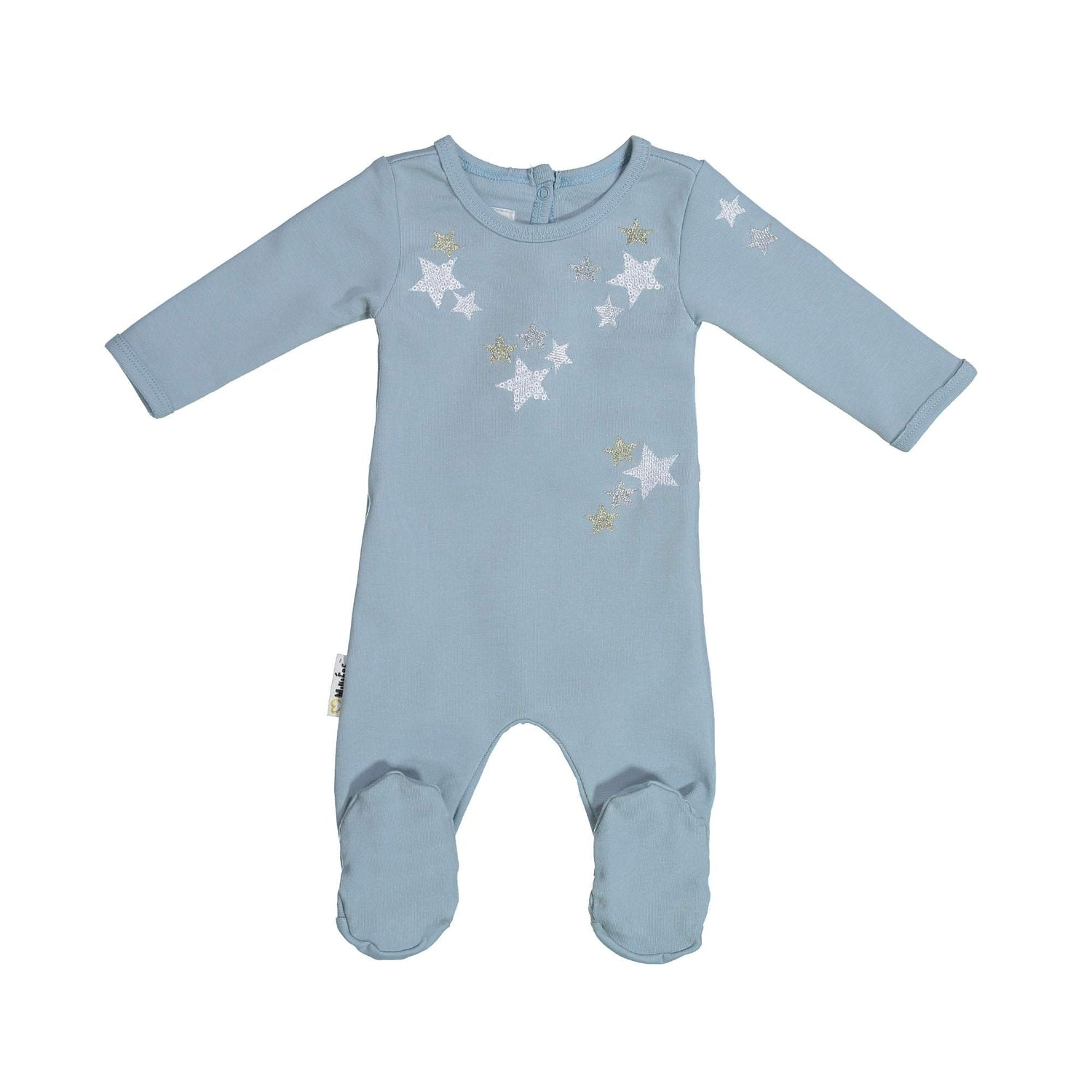 Embroidered Star Footie Maniere Accessories Denim Blue 6 Month