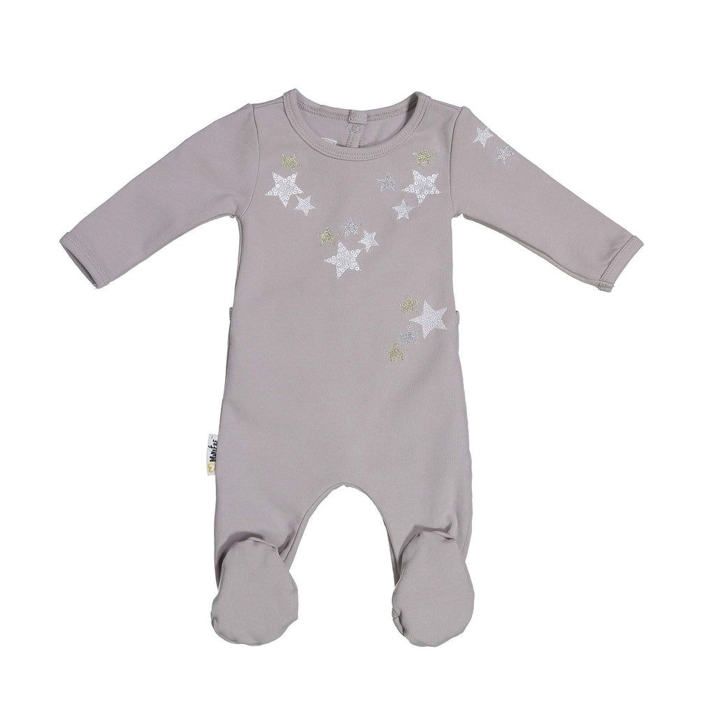 Embroidered Star Footie Maniere Accessories Grey 3 Month