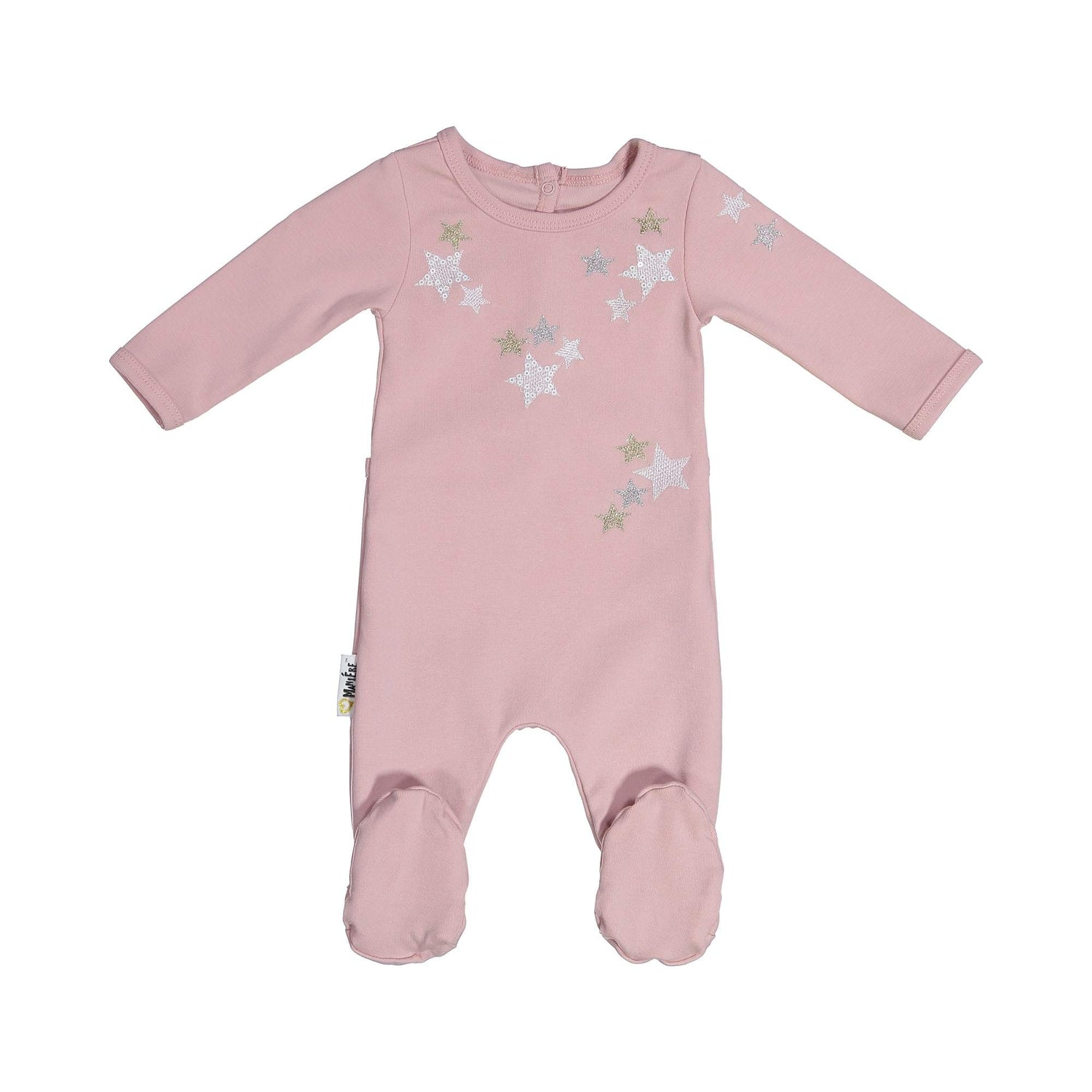 Embroidered Star Footie Maniere Accessories Mauve 3 Month