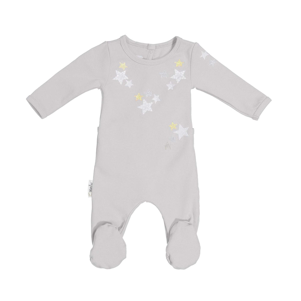 Embroidered Star Footie Maniere Accessories White 3 Month