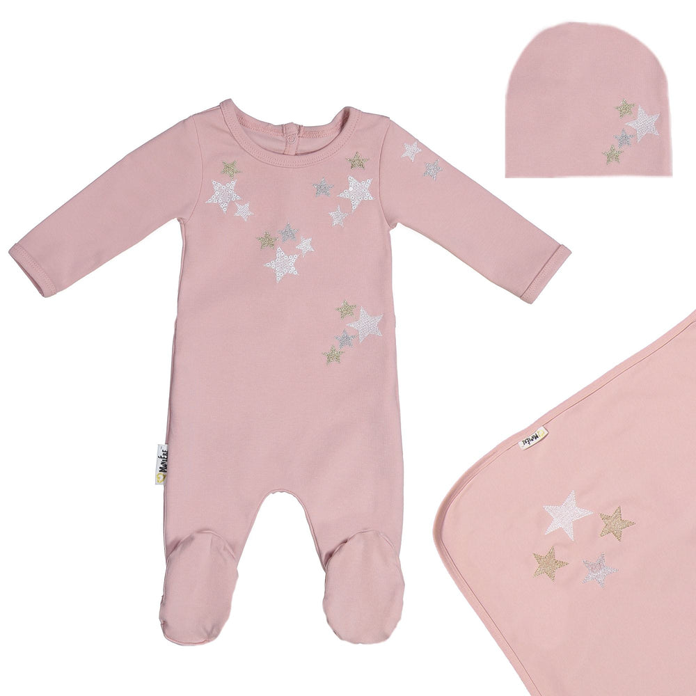 Embroidered Star Footie Set Maniere Accessories Mauve 3 Month