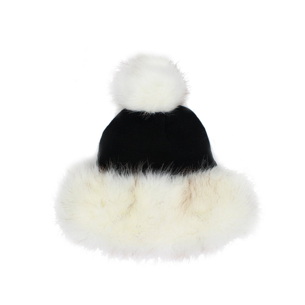 Faux Fur Cuff Hat Winter Hat Manière Black/White