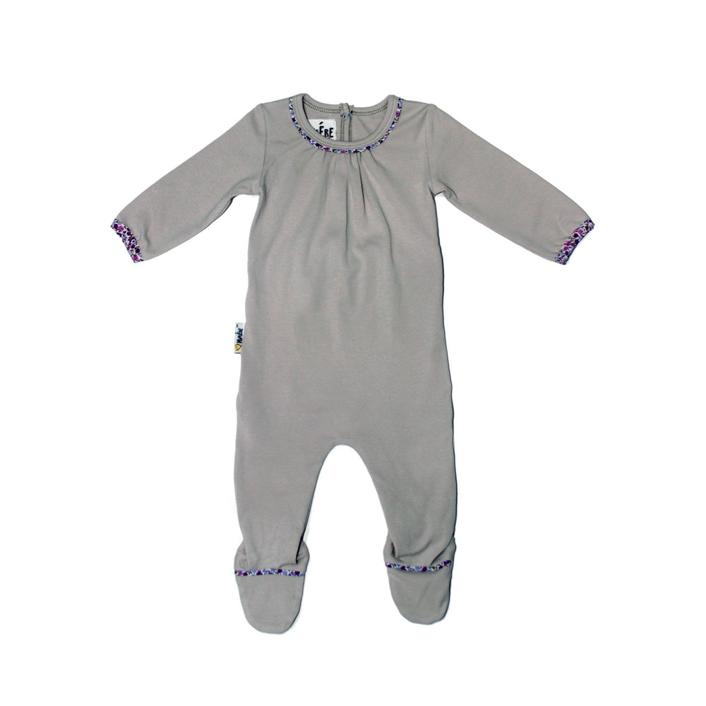 Load image into Gallery viewer, Floral Trim Footie Baby Footies Maniere Accessories Grey 3 Months