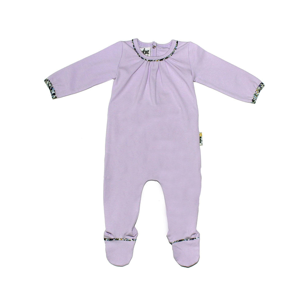 Floral Trim Footie Baby Footies Maniere Accessories Lavender 3 Months
