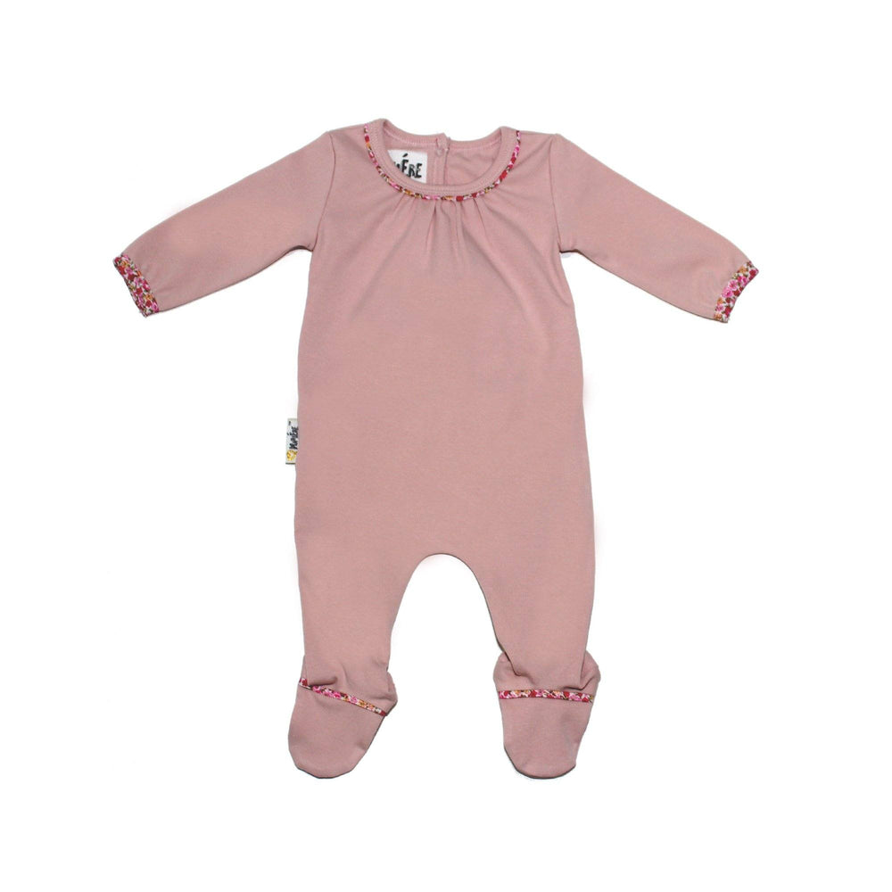 Floral Trim Footie Baby Footies Maniere Accessories Soft Pink 3 Months