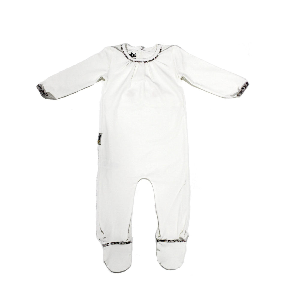 Load image into Gallery viewer, Floral Trim Footie Baby Footies Maniere Accessories White 3 Months