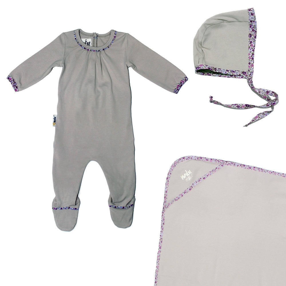 Floral Trim Footie Set Baby Sets Maniere Accessories Grey 3 Month