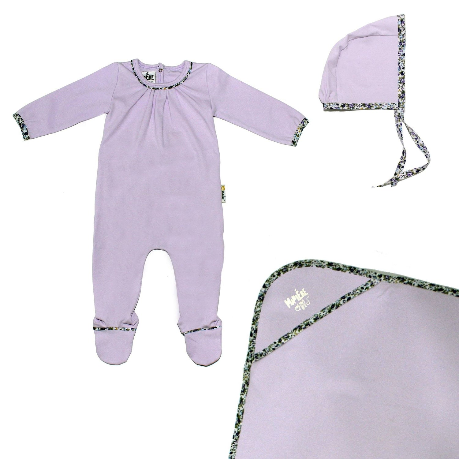 Floral Trim Footie Set Baby Sets Maniere Accessories Lavender 3 Month