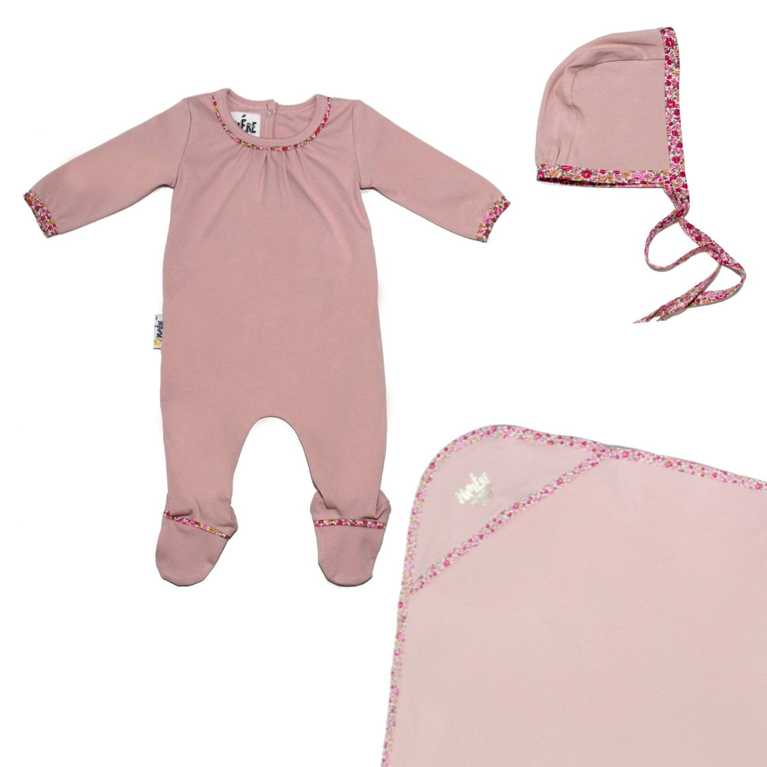 Floral Trim Footie Set Baby Sets Maniere Accessories Soft Pink 3 Month