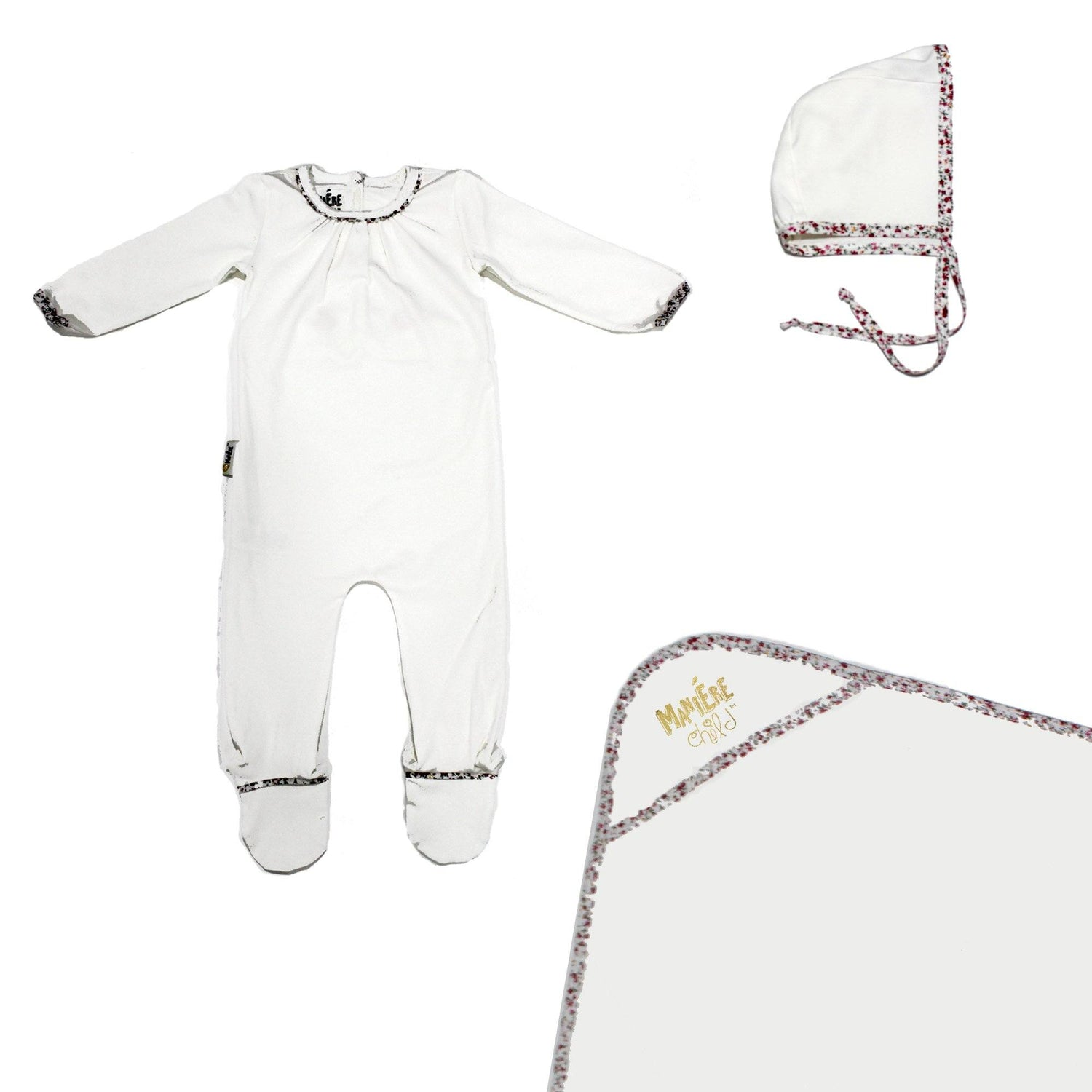 Floral Trim Footie Set Baby Sets Maniere Accessories White 3 Month