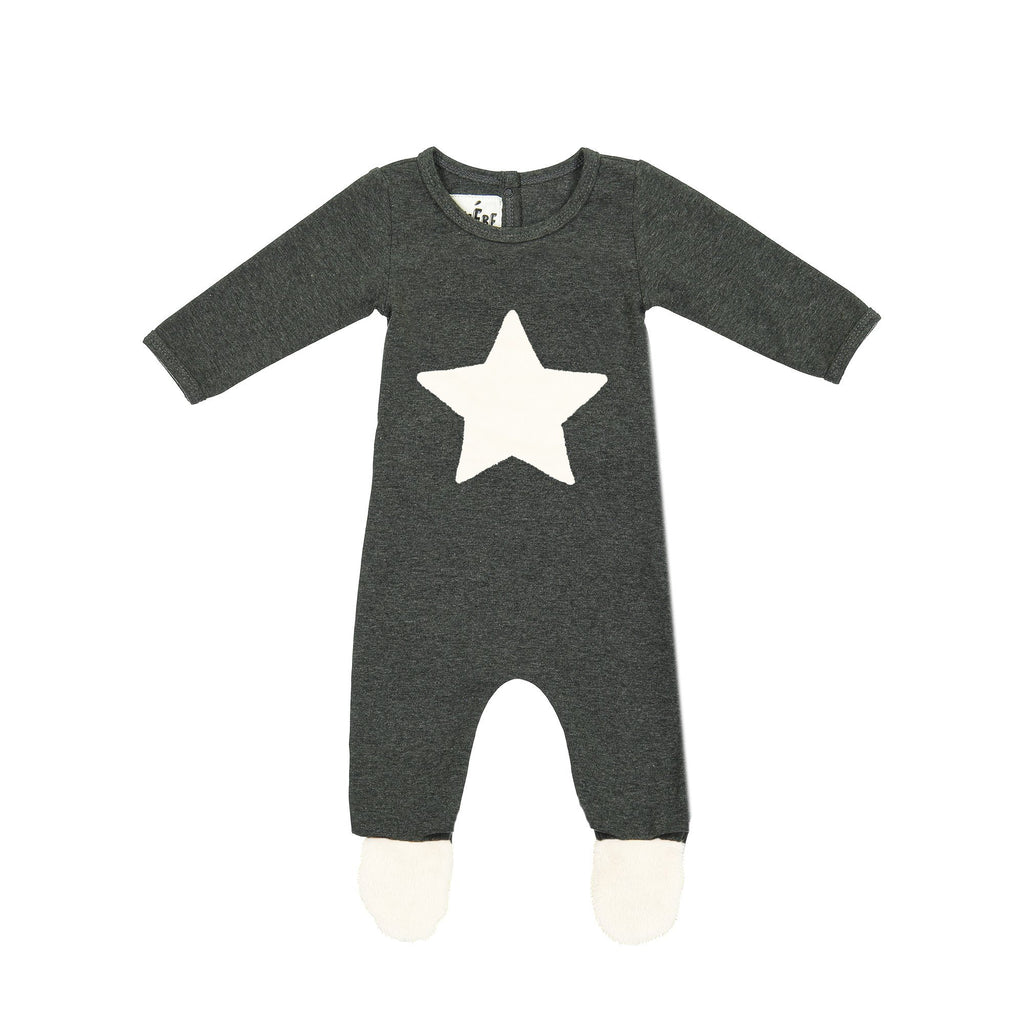 Fur Patch Footie Maniere Accessories 3 Months Charcoal