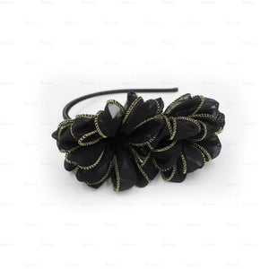 Load image into Gallery viewer, Gold-Edge-Flower-Headband Headband Manière Black