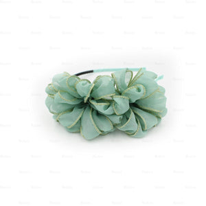 Load image into Gallery viewer, Gold-Edge-Flower-Headband Headband Manière Green