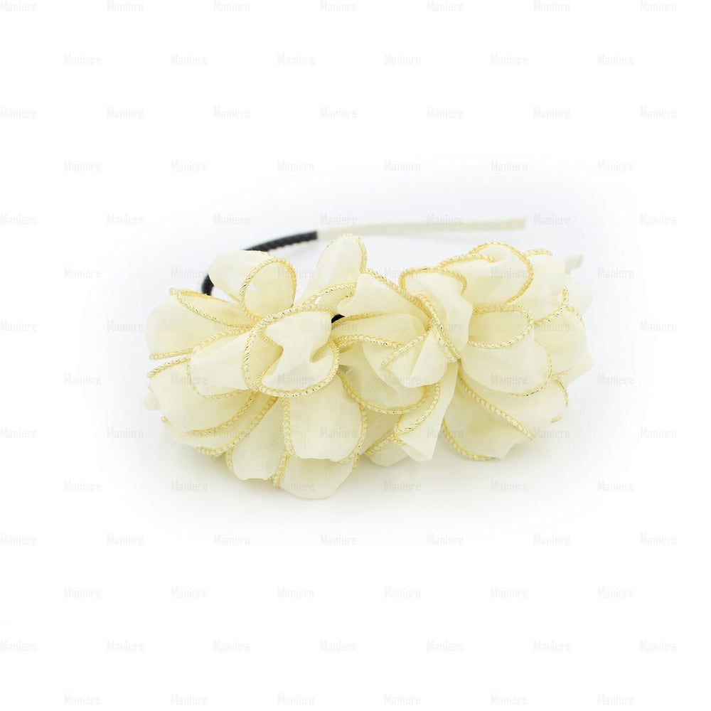 Load image into Gallery viewer, Gold-Edge-Flower-Headband Headband Manière White