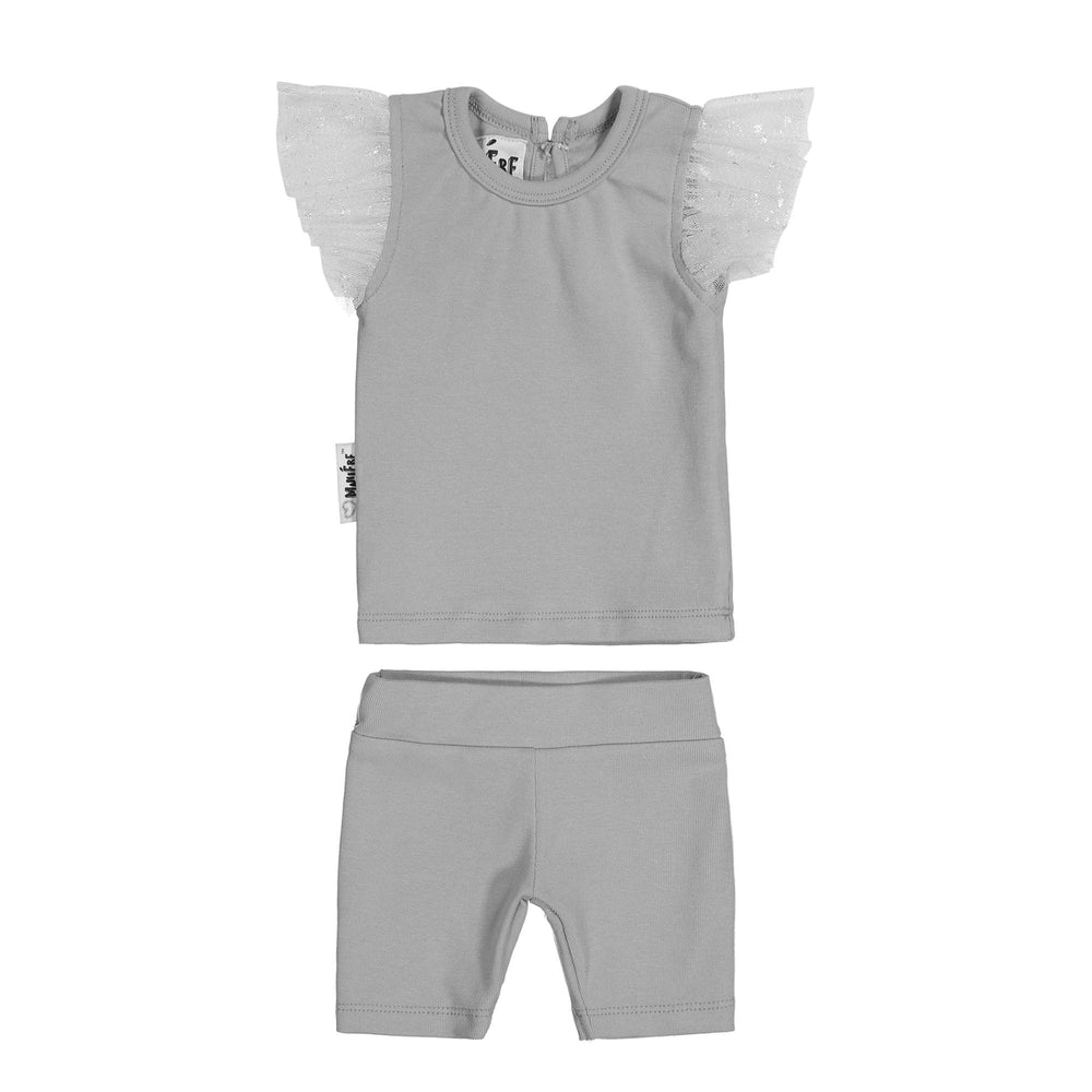Glitter Mesh Two Piece Set Maniere Accessories Grey 12 Month