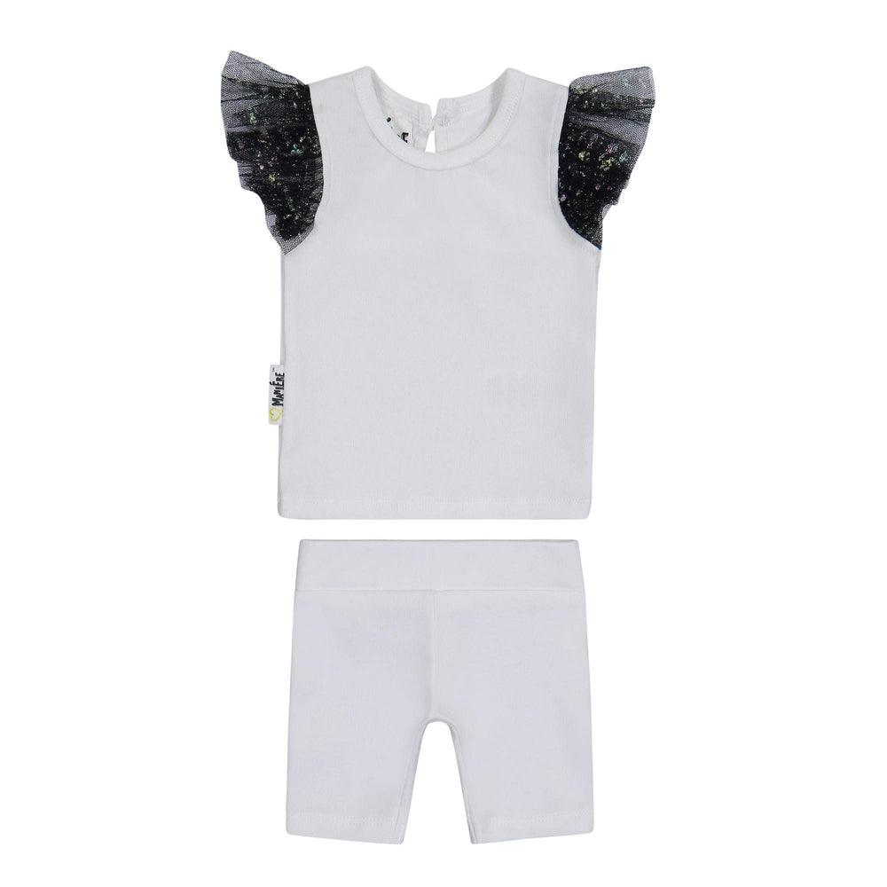 Glitter Mesh Two Piece Set Maniere Accessories White/Black 12 Month
