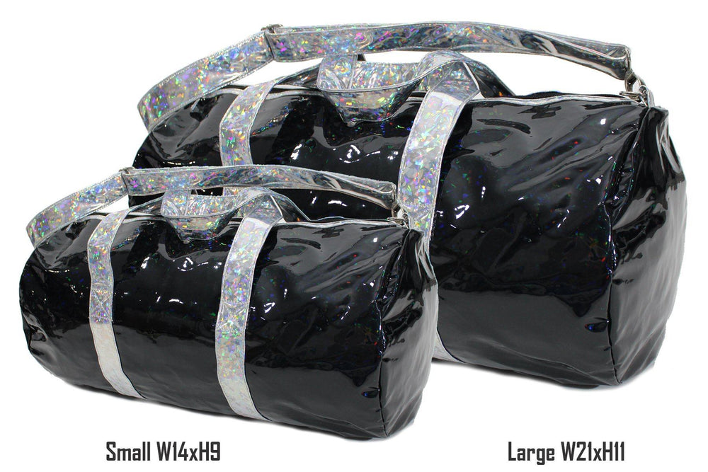 Holographic Shine Duffel Bag, Black with Silver Handles Bags Maniere Accessories Small