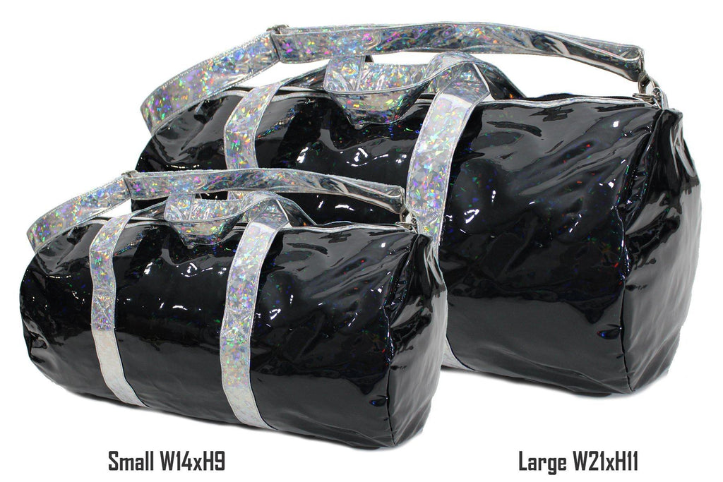 Holographic Shine Duffel Bag, Black with Silver Handles