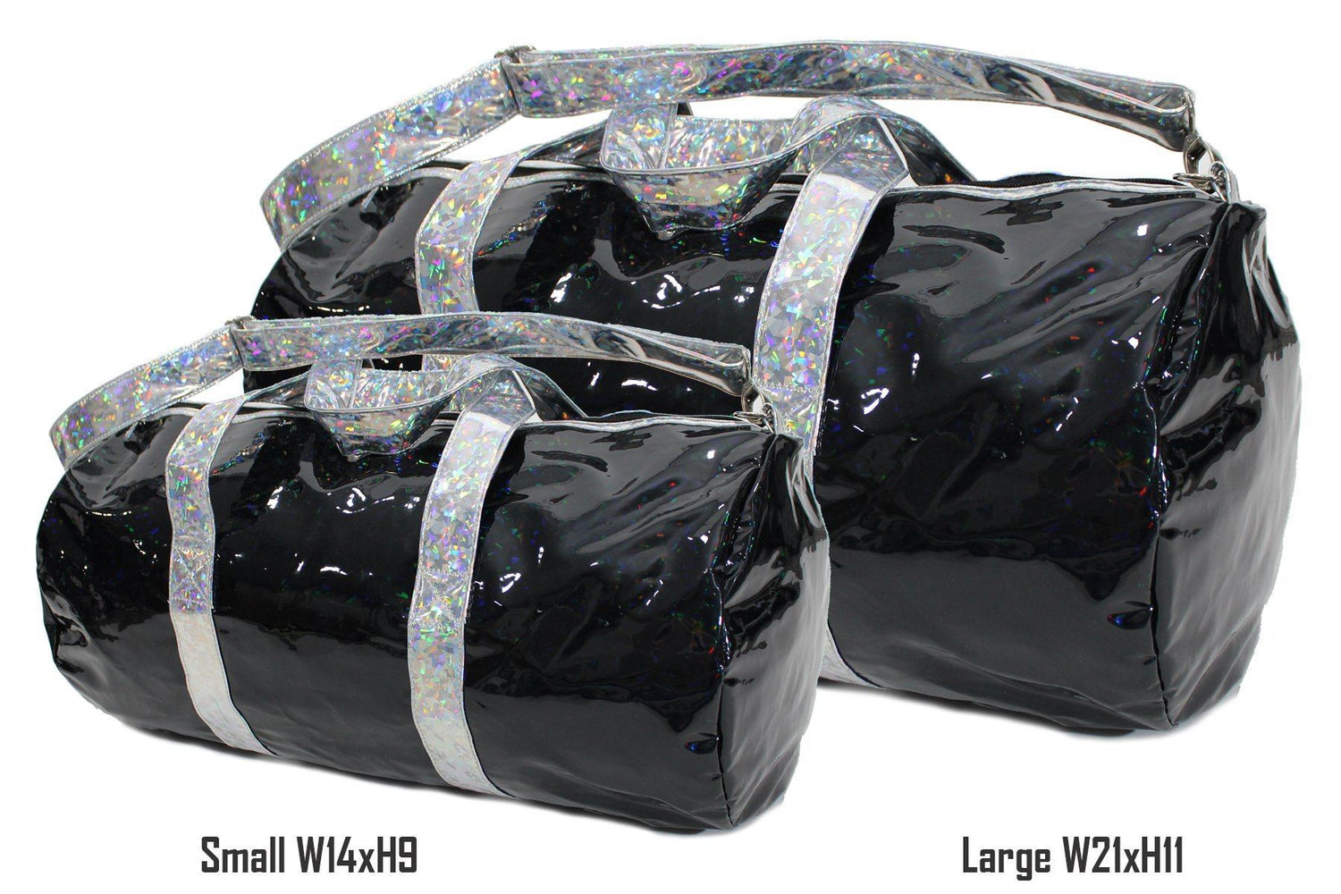 Holographic Shine Duffel Bag, Black with Silver Handles - Maniere Accessories
