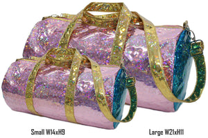 Holographic Shine Duffel Bag, Pink with Gold Handles Maniere Accessories