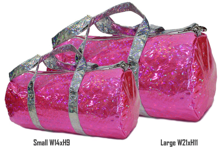 Holographic Shine Duffel Bag, Pink with Silver Handles