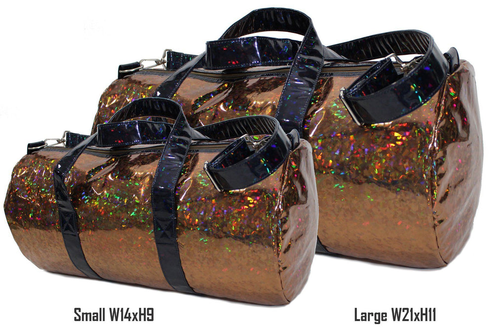 Holographic Shine Duffel Bag, Rust with Black Handles Maniere Accessories
