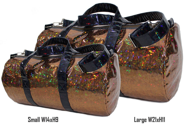 Holographic Shine Duffel Bag, Rust with Black Handles