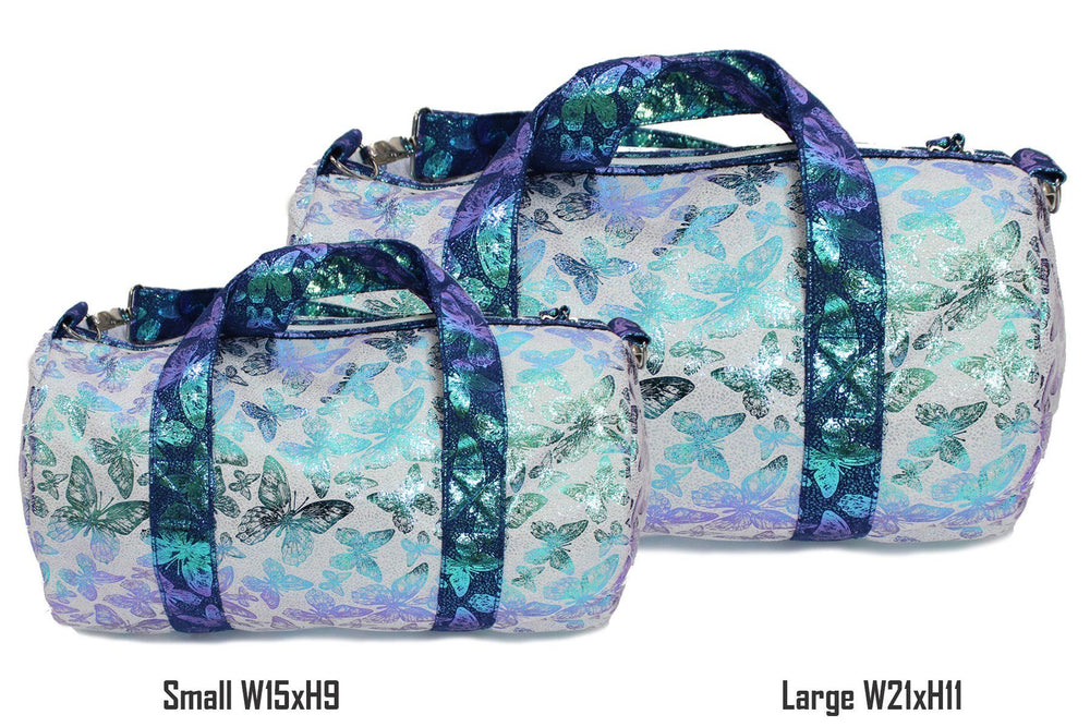 Iridescent Butterfly Print Duffel Bag, Blue Maniere Accessories