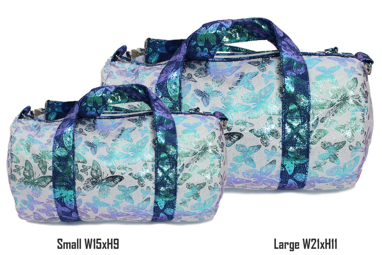 Iridescent Butterfly Print Duffel Bag, Blue