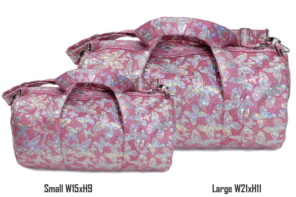 Load image into Gallery viewer, Iridescent Butterfly Print Duffel Bag, Pink Maniere Accessories
