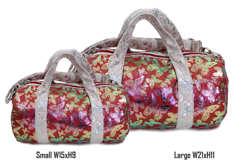 Iridescent Butterfly Print Duffel bag, Red Maniere Accessories