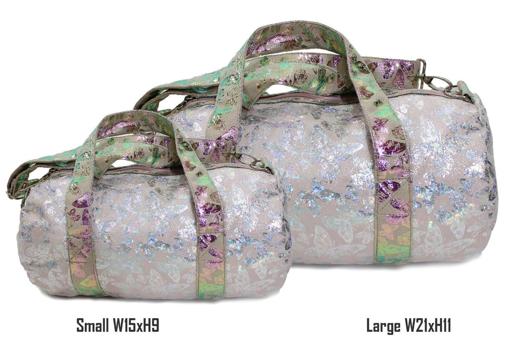 Iridescent Butterfly Print Duffel Bag, Silver Maniere Accessories