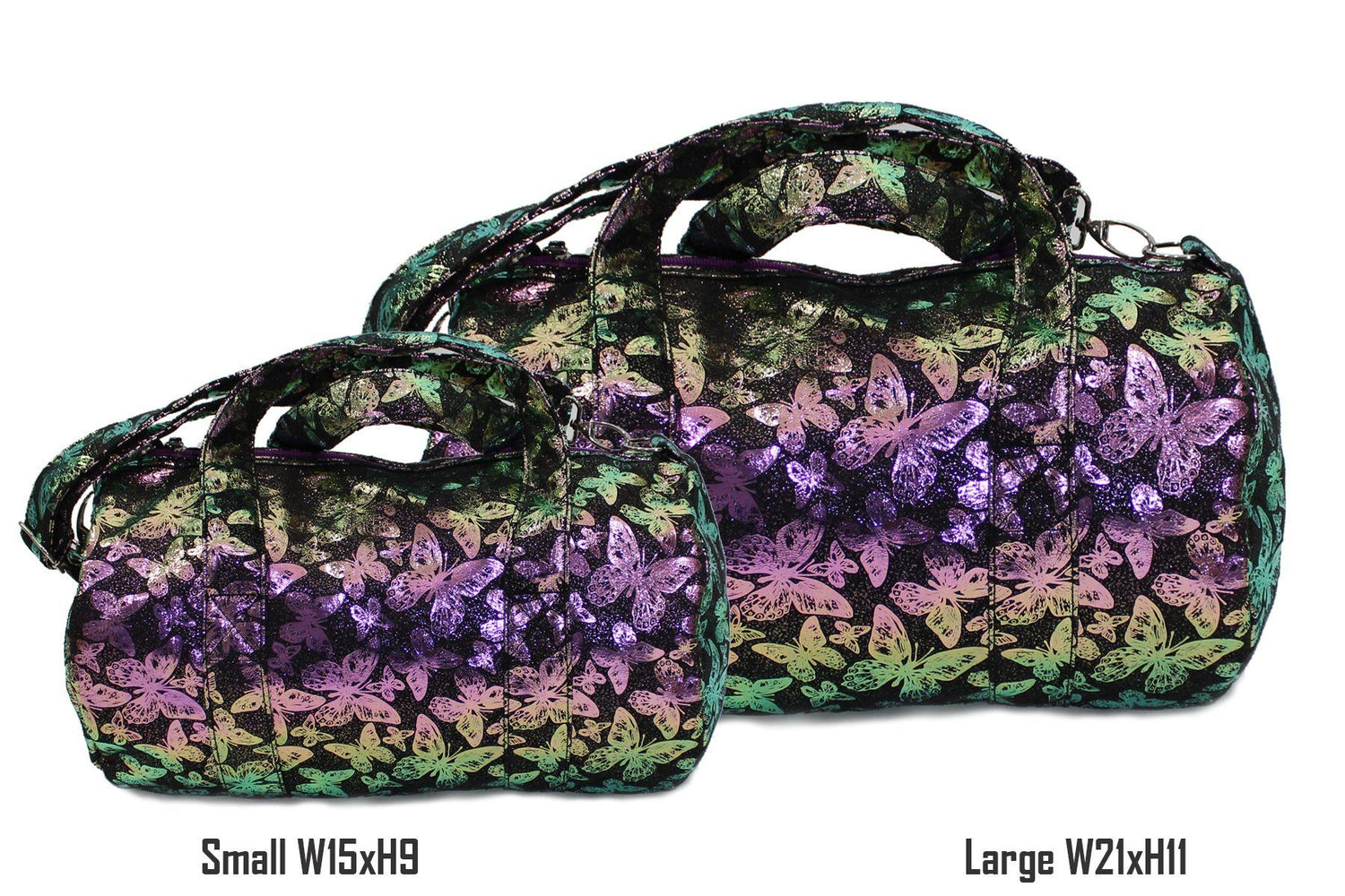 Iridescent Butterfly Print Duffel Bag, Black Maniere Accessories