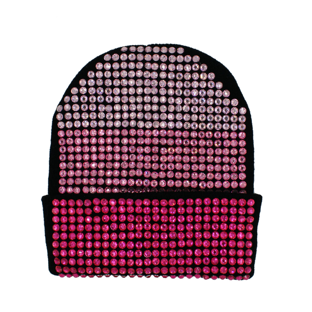 Studded Crystal Beanie With Snap For Pom Winter Hat Manière
