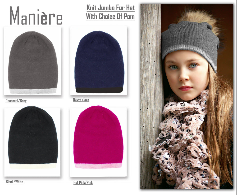 Two Tone Knit Hat With Choice of Pom Winter Hat Maniere