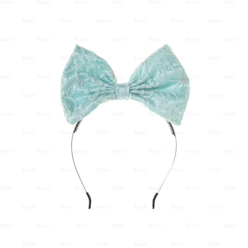 Load image into Gallery viewer, Lace-Pop-Up-Bow-Headband Headband Manière Aqua