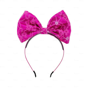 Load image into Gallery viewer, Lace-Pop-Up-Bow-Headband Headband Manière FUSCHIA
