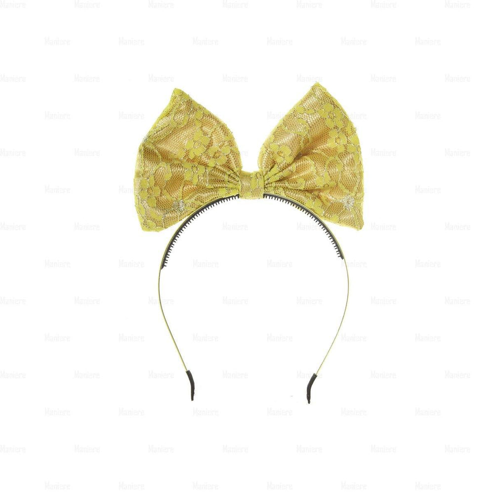 Load image into Gallery viewer, Lace-Pop-Up-Bow-Headband Headband Manière Golden Yellow
