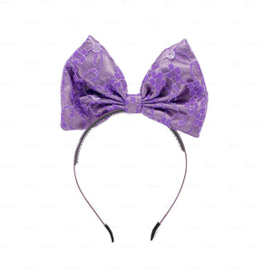 Load image into Gallery viewer, Lace-Pop-Up-Bow-Headband Headband Manière Lavender