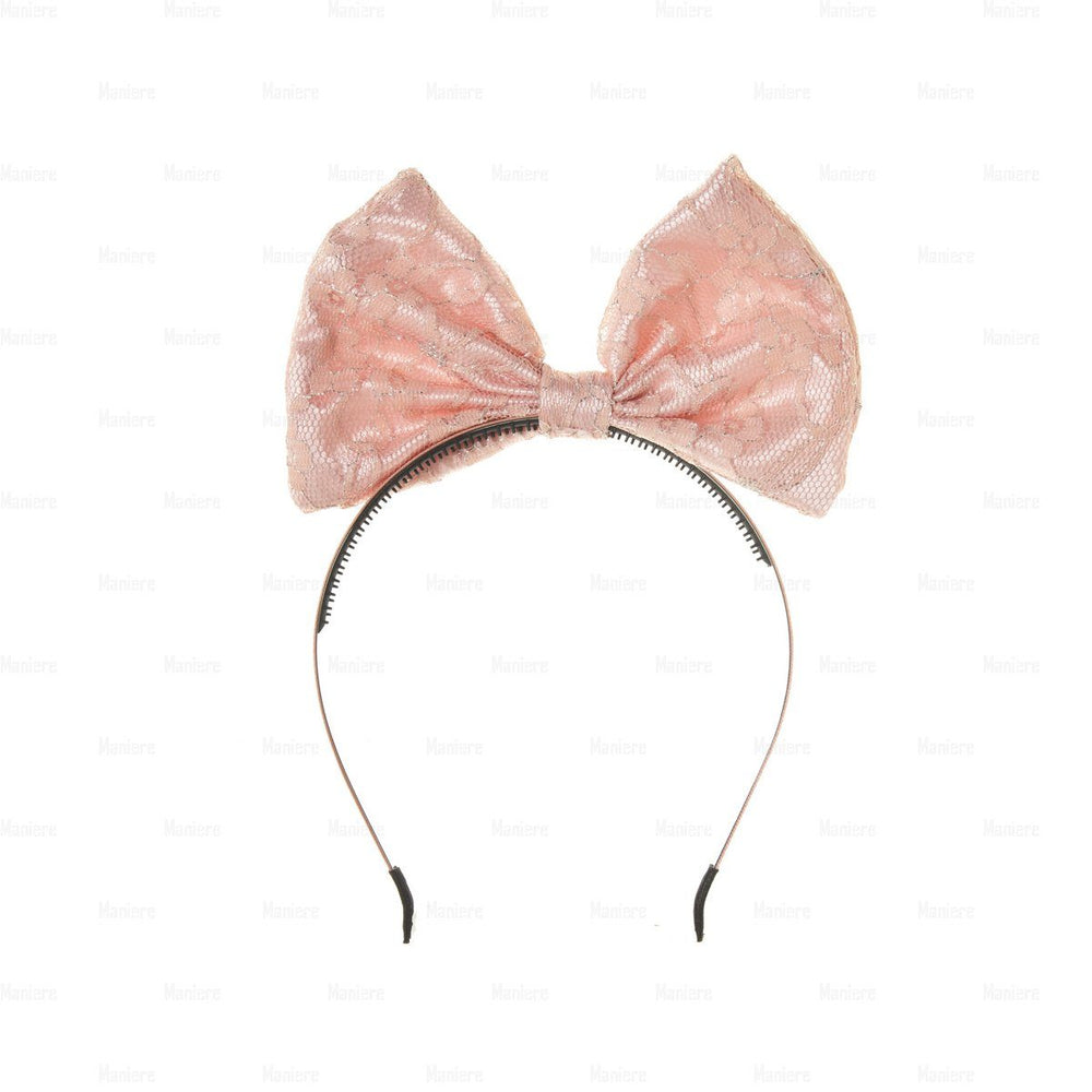 Load image into Gallery viewer, Lace-Pop-Up-Bow-Headband Headband Manière Pink